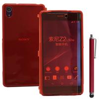 Sony Xperia Z2 D6502 D6503 D6543: Accessoire Coque Etui Housse Pochette silicone gel Portefeuille Livre rabat + Stylet - ROUGE