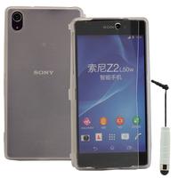 Sony Xperia Z2 D6502 D6503 D6543: Accessoire Coque Etui Housse Pochette silicone gel Portefeuille Livre rabat + mini Stylet - TRANSPARENT