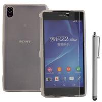 Sony Xperia Z2 D6502 D6503 D6543: Accessoire Coque Etui Housse Pochette silicone gel Portefeuille Livre rabat + Stylet - TRANSPARENT