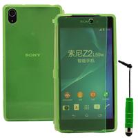 Sony Xperia Z2 D6502 D6503 D6543: Accessoire Coque Etui Housse Pochette silicone gel Portefeuille Livre rabat + mini Stylet - VERT