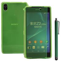 Sony Xperia Z2 D6502 D6503 D6543: Accessoire Coque Etui Housse Pochette silicone gel Portefeuille Livre rabat + Stylet - VERT