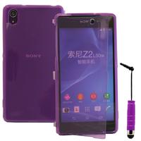 Sony Xperia Z2 D6502 D6503 D6543: Accessoire Coque Etui Housse Pochette silicone gel Portefeuille Livre rabat + mini Stylet - VIOLET
