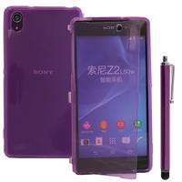 Sony Xperia Z2 D6502 D6503 D6543: Accessoire Coque Etui Housse Pochette silicone gel Portefeuille Livre rabat + Stylet - VIOLET