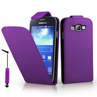 Samsung Galaxy Core I8260/ I8262 Dual Sim: Accessoire Etui Housse Coque Pochette simili cuir à rabat vertical + mini Stylet - VIOLET