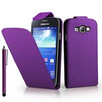 Samsung Galaxy Core I8260/ I8262 Dual Sim: Accessoire Etui Housse Coque Pochette simili cuir à rabat vertical + Stylet - VIOLET