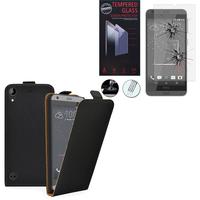 HTC Desire 530/ Desire 630: Etui Coque Housse Pochette Accessoires cuir slim ultra fine - NOIR + 1 Film de protection d'écran Verre Trempé