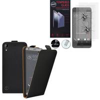 HTC Desire 530/ Desire 630: Etui Coque Housse Pochette Accessoires cuir slim ultra fine - NOIR + 2 Films de protection d'écran Verre Trempé