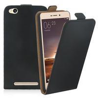 Xiaomi Redmi 3: Accessoire Housse Coque Pochette Etui protection vrai cuir à rabat vertical - NOIR