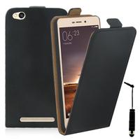 Xiaomi Redmi 3: Accessoire Housse Coque Pochette Etui protection vrai cuir à rabat vertical + mini Stylet - NOIR