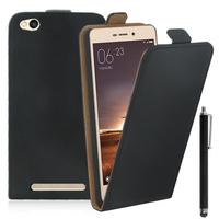 Xiaomi Redmi 3: Accessoire Housse Coque Pochette Etui protection vrai cuir à rabat vertical + Stylet - NOIR
