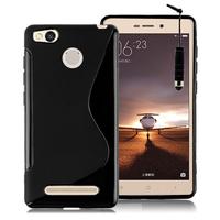 Xiaomi Redmi 3s/ Redmi 3x/ Redmi 3 Pro: Accessoire Housse Etui Pochette Coque Silicone Gel motif S Line + mini Stylet - NOIR