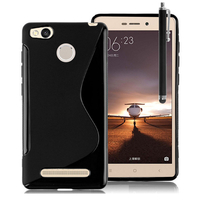 Xiaomi Redmi 3s/ Redmi 3x/ Redmi 3 Pro: Accessoire Housse Etui Pochette Coque Silicone Gel motif S Line + Stylet - NOIR