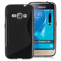 Samsung Galaxy J1 (2016)/ Duos/ J120F J120H J120M J120M J120T: Accessoire Housse Etui Pochette Coque Silicone Gel motif S Line + mini Stylet - NOIR