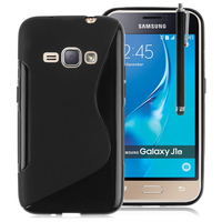 Samsung Galaxy J1 (2016)/ Duos/ J120F J120H J120M J120M J120T: Accessoire Housse Etui Pochette Coque Silicone Gel motif S Line + Stylet - NOIR
