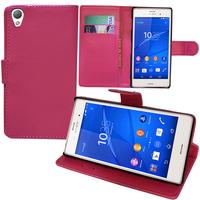 Sony Xperia Z3/ Z3 Dual D6603 D6643 D6653 D6616 D6633: Accessoire Etui portefeuille Livre Housse Coque Pochette support vidéo cuir PU - ROSE
