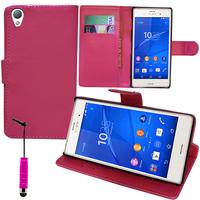 Sony Xperia Z3/ Z3 Dual D6603 D6643 D6653 D6616 D6633: Accessoire Etui portefeuille Livre Housse Coque Pochette support vidéo cuir PU + mini Stylet - ROSE