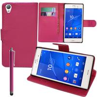 Sony Xperia Z3/ Z3 Dual D6603 D6643 D6653 D6616 D6633: Accessoire Etui portefeuille Livre Housse Coque Pochette support vidéo cuir PU + Stylet - ROSE
