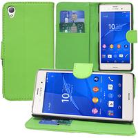Sony Xperia Z3/ Z3 Dual D6603 D6643 D6653 D6616 D6633: Accessoire Etui portefeuille Livre Housse Coque Pochette support vidéo cuir PU - VERT