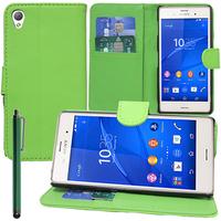 Sony Xperia Z3/ Z3 Dual D6603 D6643 D6653 D6616 D6633: Accessoire Etui portefeuille Livre Housse Coque Pochette support vidéo cuir PU + Stylet - VERT