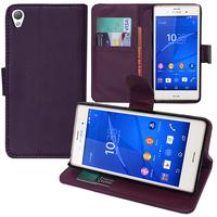Sony Xperia Z3/ Z3 Dual D6603 D6643 D6653 D6616 D6633: Accessoire Etui portefeuille Livre Housse Coque Pochette support vidéo cuir PU - VIOLET