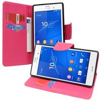 Sony Xperia Z3/ Z3 Dual D6603 D6643 D6653 D6616 D6633: Accessoire Etui portefeuille Livre Housse Coque Pochette support vidéo cuir PU effet tissu - ROSE