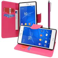 Sony Xperia Z3/ Z3 Dual D6603 D6643 D6653 D6616 D6633: Accessoire Etui portefeuille Livre Housse Coque Pochette support vidéo cuir PU effet tissu + Stylet - ROSE