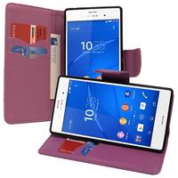 Sony Xperia Z3/ Z3 Dual D6603 D6643 D6653 D6616 D6633: Accessoire Etui portefeuille Livre Housse Coque Pochette support vidéo cuir PU effet tissu - VIOLET