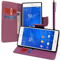 Sony Xperia Z3/ Z3 Dual D6603 D6643 D6653 D6616 D6633: Accessoire Etui portefeuille Livre Housse Coque Pochette support vidéo cuir PU effet tissu + Stylet - VIOLET