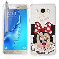 Samsung Galaxy J5 (2016) J510FN/ J510F/ J510G/ J510Y/ J510M/ J5 Duos (2016): Coque Housse silicone TPU Transparente Ultra-Fine Dessin animé jolie + Stylet - Minnie Mouse