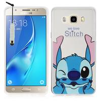 Samsung Galaxy J5 (2016) J510FN/ J510F/ J510G/ J510Y/ J510M/ J5 Duos (2016): Coque Housse silicone TPU Transparente Ultra-Fine Dessin animé jolie + mini Stylet - Stitch