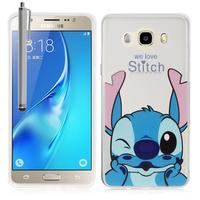Samsung Galaxy J5 (2016) J510FN/ J510F/ J510G/ J510Y/ J510M/ J5 Duos (2016): Coque Housse silicone TPU Transparente Ultra-Fine Dessin animé jolie + Stylet - Stitch