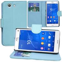 Sony Xperia Z3 Compact D5803 D5833: Accessoire Etui portefeuille Livre Housse Coque Pochette support vidéo cuir PU - BLEU