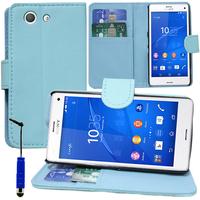 Sony Xperia Z3 Compact D5803 D5833: Accessoire Etui portefeuille Livre Housse Coque Pochette support vidéo cuir PU + mini Stylet - BLEU
