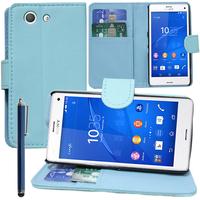 Sony Xperia Z3 Compact D5803 D5833: Accessoire Etui portefeuille Livre Housse Coque Pochette support vidéo cuir PU + Stylet - BLEU