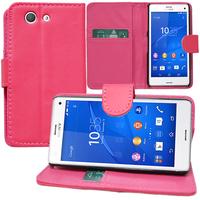 Sony Xperia Z3 Compact D5803 D5833: Accessoire Etui portefeuille Livre Housse Coque Pochette support vidéo cuir PU - ROSE