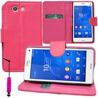 Sony Xperia Z3 Compact D5803 D5833: Accessoire Etui portefeuille Livre Housse Coque Pochette support vidéo cuir PU + mini Stylet - ROSE