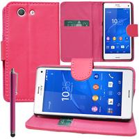 Sony Xperia Z3 Compact D5803 D5833: Accessoire Etui portefeuille Livre Housse Coque Pochette support vidéo cuir PU + Stylet - ROSE