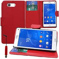 Sony Xperia Z3 Compact D5803 D5833: Accessoire Etui portefeuille Livre Housse Coque Pochette support vidéo cuir PU + mini Stylet - ROUGE