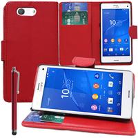 Sony Xperia Z3 Compact D5803 D5833: Accessoire Etui portefeuille Livre Housse Coque Pochette support vidéo cuir PU + Stylet - ROUGE