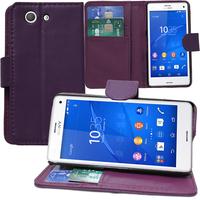 Sony Xperia Z3 Compact D5803 D5833: Accessoire Etui portefeuille Livre Housse Coque Pochette support vidéo cuir PU - VIOLET