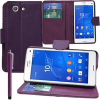 Sony Xperia Z3 Compact D5803 D5833: Accessoire Etui portefeuille Livre Housse Coque Pochette support vidéo cuir PU + Stylet - VIOLET