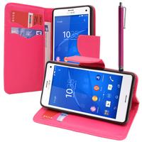 Sony Xperia Z3 Compact D5803 D5833: Accessoire Etui portefeuille Livre Housse Coque Pochette support vidéo cuir PU effet tissu + Stylet - ROSE