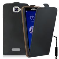 Lenovo S856: Accessoire Housse Coque Pochette Etui protection vrai cuir à rabat vertical + mini Stylet - NOIR