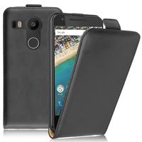 LG Nexus 5X: Accessoire Housse Coque Pochette Etui protection vrai cuir à rabat vertical - NOIR