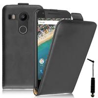 LG Nexus 5X: Accessoire Housse Coque Pochette Etui protection vrai cuir à rabat vertical + mini Stylet - NOIR
