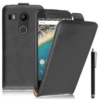 LG Nexus 5X: Accessoire Housse Coque Pochette Etui protection vrai cuir à rabat vertical + Stylet - NOIR