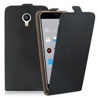 Meizu M2 Note/ Blue Charm Note2: Accessoire Housse Coque Pochette Etui protection vrai cuir à rabat vertical - NOIR