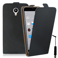 Meizu M2 Note/ Blue Charm Note2: Accessoire Housse Coque Pochette Etui protection vrai cuir à rabat vertical + mini Stylet - NOIR