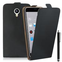 Meizu M2 Note/ Blue Charm Note2: Accessoire Housse Coque Pochette Etui protection vrai cuir à rabat vertical + Stylet - NOIR