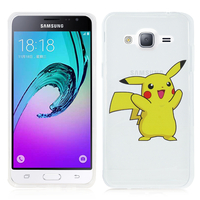 Samsung Galaxy J3 (2016) J320F/ J320P/ J3109/ J320M/ J320Y/ Duos: Coque Housse silicone TPU Transparente Ultra-Fine Dessin animé jolie - Pikachu